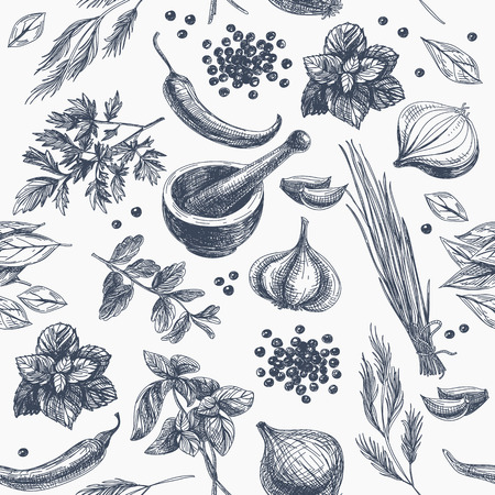 Vector seamless pattern with herbs and spices. Modern stylish texture. Repeating abstract background. Ilustração