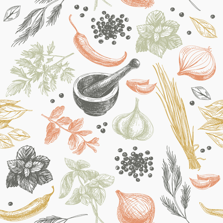 Vector seamless pattern with herbs and spices. Modern stylish texture. Repeating abstract background. Vettoriali