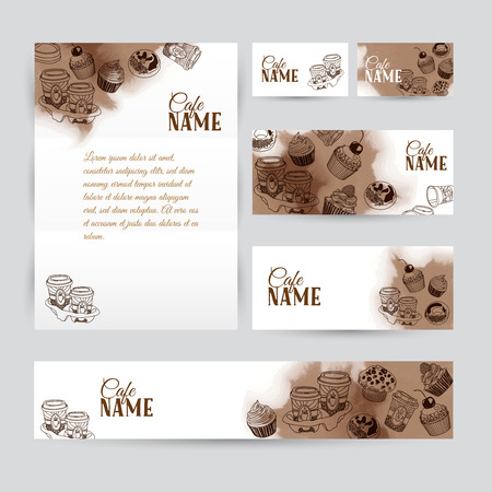 Corporate identity business coffee set design. Abstract background with vintage party pastry, cakes and sweets. Vector illustration.