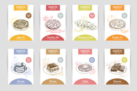 pie: Vector hand drawn sketch restaurant desserts banners set. Sweets. Retro illustration. Illustration