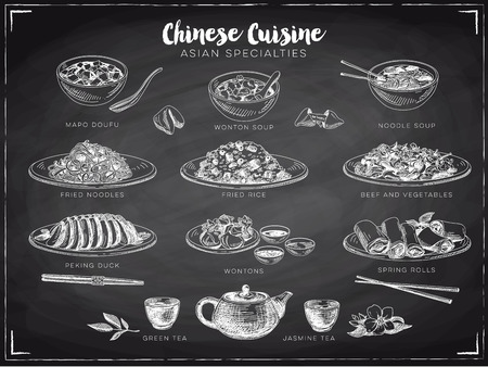blackboard background: Vector hand drawn illustration with chinese food. Sketch. Chalkboard.
