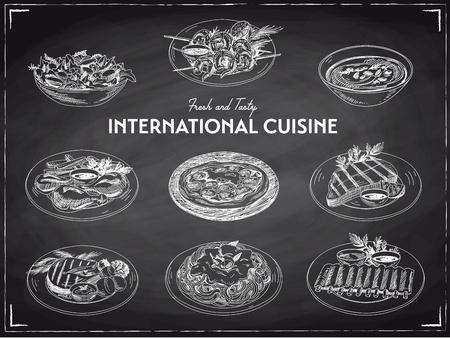 Conjunto de cozinha internacional de desenho vetorial mão desenhada Comida de restaurante. Ilustração retrô. Quadro-negro. Ilustración de vector