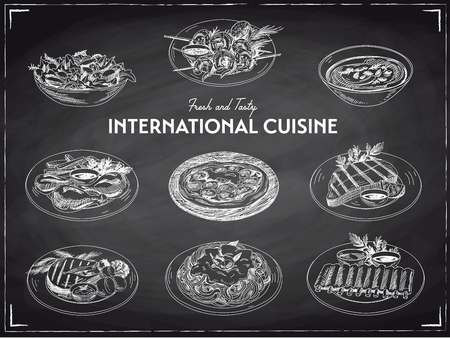 salads: Vector hand drawn sketch international cuisine set. Restaurant food. Retro illustration. Chalkboard. Illustration