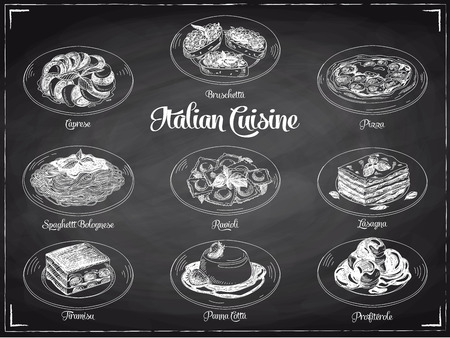 Vector hand drawn illustration with italian food. Sketch. Chalkboard. Stock Photo