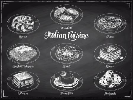 restaurante italiano: vector dibujado a mano ilustración con comida italiana. Bosquejo. Pizarra.