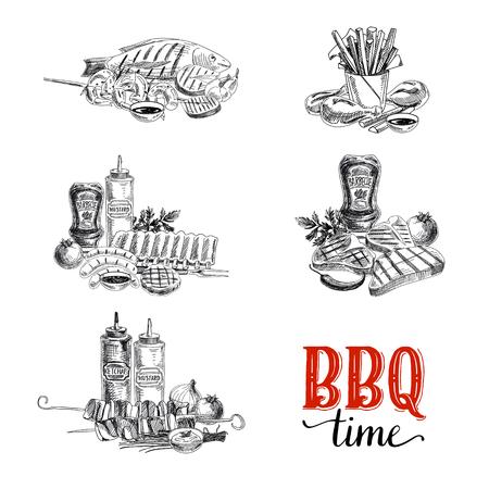 chorizos asados: Vector conjunto de elementos barbacoa y parrilla. Ilustración del vector en estilo de dibujo. Dibujado a mano elementos de diseño.