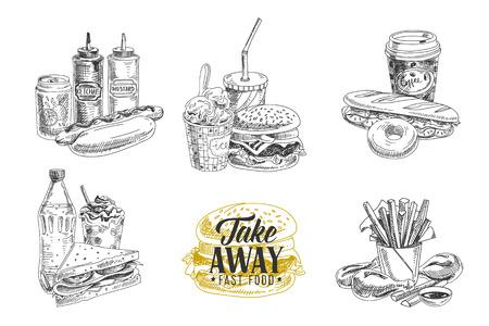 boceto: Conjunto de vectores de comida rápida. Ilustración del vector en el estilo de dibujo. dibujados a mano elementos de diseño Vectores