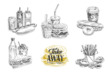 sketch: Vector set of fast food. Vector illustration in sketch style. Hand drawn design elements