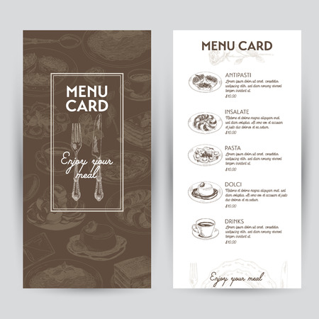 Vector hand drawn illustration with italian food. Restaurant menu. Sketch. Illustration