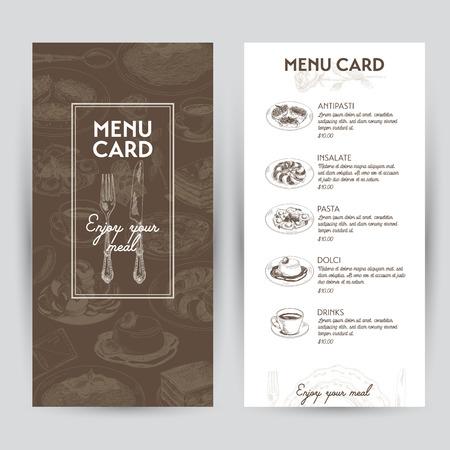 restaurante italiano: Vector dibujado a mano ilustración con comida italiana. Menú del restaurante. Bosquejo. Vectores