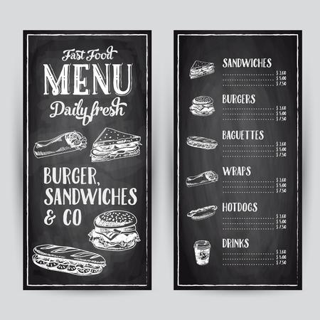 hamburguesa: Vector dibujado a mano ilustraci�n con la comida r�pida. Men� del restaurante. Pizarra. Bosquejo.