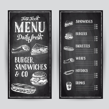 burger and fries: Vector hand drawn illustration with fast food. Restaurant menu. Chalkboard. Sketch.