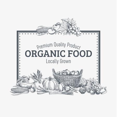 手でベクトルの背景は、有機食品を描画されます。野菜や果物のスパイス イラスト。