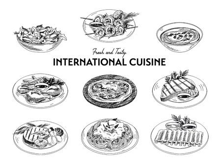 벡터 손으로 스케치 국제 요리 세트를 그려. 레스토랑 음식. 레트로 그림입니다.