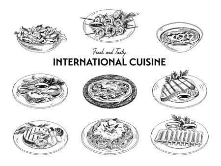 soup and salad: Vector hand drawn sketch international cuisine set. Restaurant food. Retro illustration.