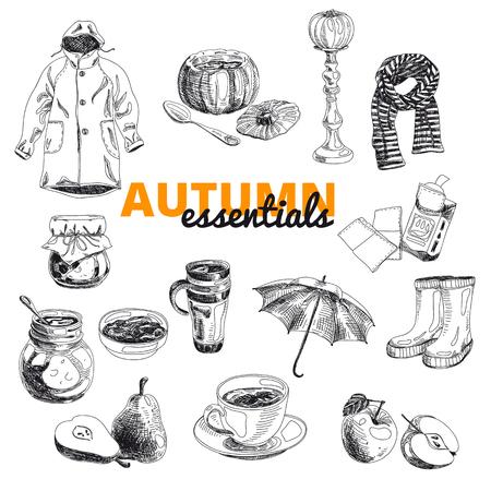 soup: Vintage vector illustration set of Fall icons. Hand drawn illustration with raincoat, umbrella, pear, pumpkin soup, spoon, rubber boots, jam, handkerchiefs, scarf Illustration
