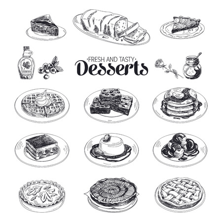 Vector hand drawn sketch restaurant desserts set. Sweets. Retro illustration. Vettoriali