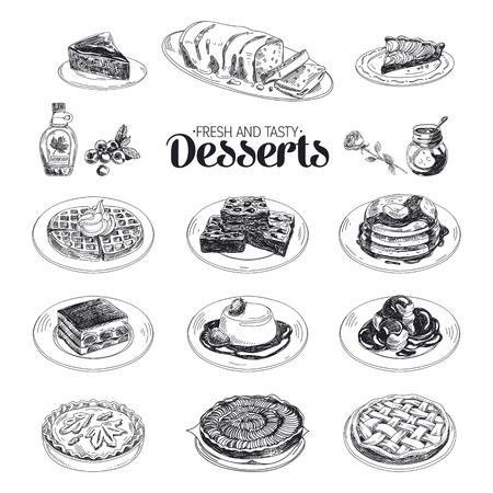 dibujo: Vector dibujado a mano boceto postres restaurante establecidas. Dulces. Retro ilustración. Vectores