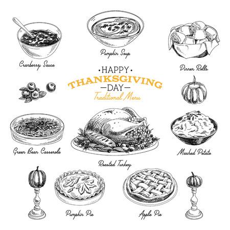 ベクターの手描きのスケッチ感謝祭の食品を設定します。レストランのメニュー。レトロなイラスト。スケッチ。