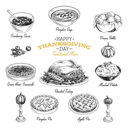 pure de papa: Bosquejo a Acción de Gracias conjunto de alimentos mano de vectores. menú del restaurante. Retro ilustración. Bosquejo.