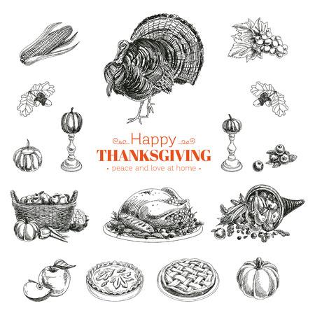 cuerno de la abundancia: vector dibujado a mano conjunto de Acción de Gracias. Retro ilustración. Bosquejo Vectores