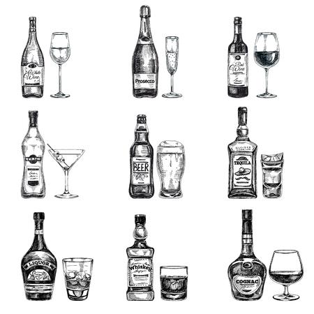 botella champagne: vector dibujado a mano ilustración con las bebidas alcohólicas. Bosquejo.