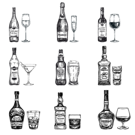 wine background: Vector hand drawn illustration with alcoholic drinks. Sketch.