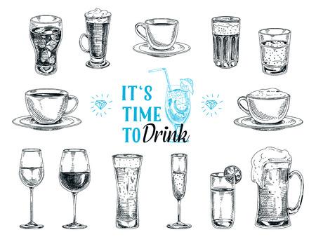 Vector ilustração tirada mão com bebidas. Esboço.