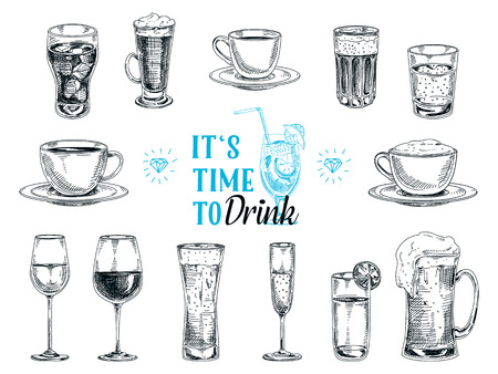acqua bicchiere: Vettoriale disegnata a mano illustrazione con bevande. Sketch.