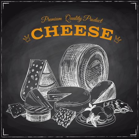 Hand getrokken vector illustratie met kaas. Schetsen. Schoolbord Stock Illustratie