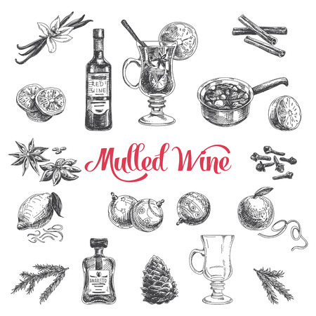 Vector hand drawn illustration with mulled wine. Sketch. Stock Illustratie