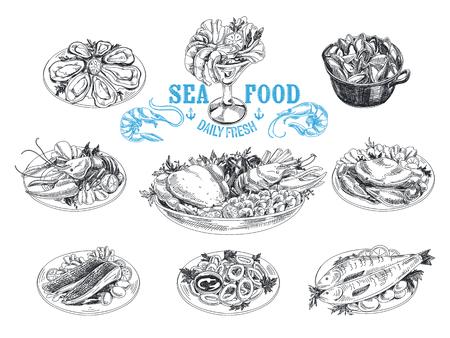 boceto: vector dibujado a mano ilustración con marisco. Bosquejo. Cocina mediterranea.