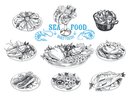 Vector hand drawn illustration with seafood. Sketch. Mediterranean cuisine. Stock Illustratie