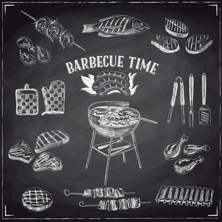 Vector ensemble d'éléments de barbecue et gril. Vector illustration dans le style d'esquisse. Hand drawn éléments de conception. Chalkboard