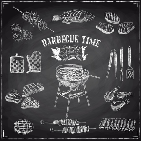 Vector set of barbecue and grill elements. Vector illustration in sketch style. Hand drawn design elements. Chalkboard Stok Fotoğraf - 55938182