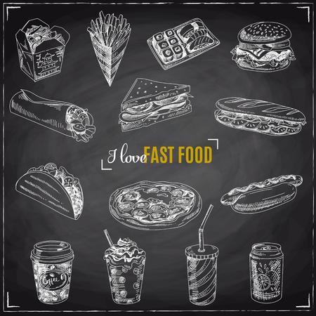 Vector set di fast food. Illustrazione vettoriale in stile schizzo. Elementi di design disegnati a mano. Lavagna