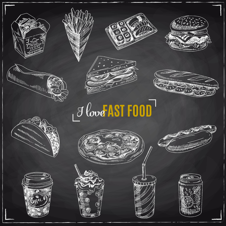 burger and fries: Vector set of fast food. Vector illustration in sketch style. Hand drawn design elements. Chalkboard Illustration