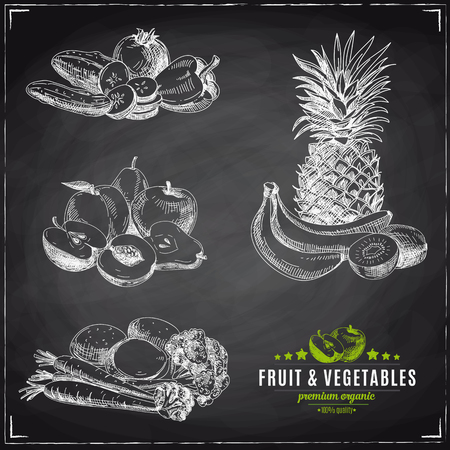 cherries isolated: Vector set of fruit and vegetables. Healthy food. Vector illustration in sketch style. Hand drawn design elements. Chalkboard
