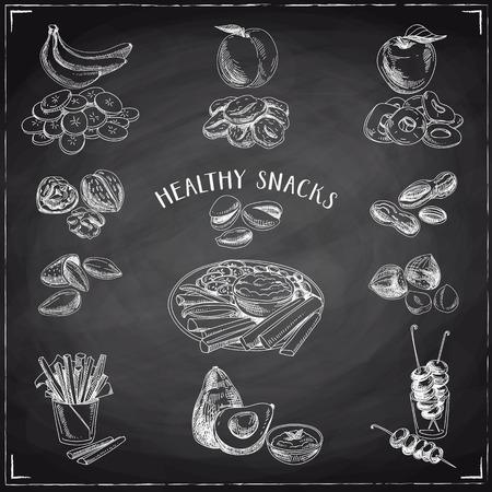 frutas deshidratadas: Vector conjunto de bocadillos saludables. Comida sana. Ilustración del vector en el estilo de dibujo. Dibujado a mano elementos de diseño. pizarra