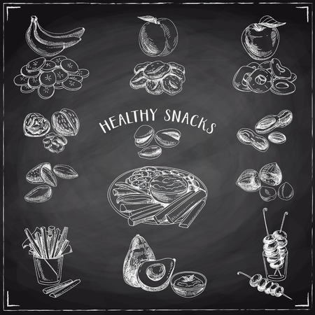 dipping: Vector set of healthy snacks. Healthy food. Vector illustration in sketch style. Hand drawn design elements. Chalkboard