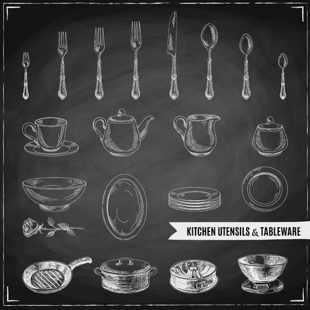 Vector hand drawn illustration with kitchen tools. Sketch. Chalkboard Illustration