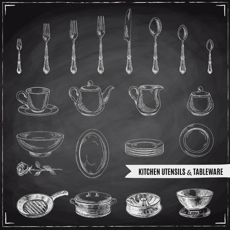 Vector hand getrokken illustratie met keukengereedschap. Schetsen. Schoolbord Stock Illustratie