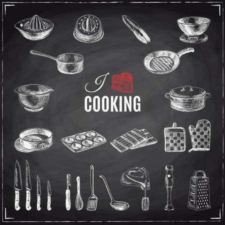 Vector hand drawn illustration with kitchen tools. Sketch. Chalkboard Reklamní fotografie - 55938193