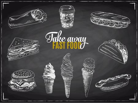 Vector set of fast food. Vector illustration in sketch style. Hand drawn design elements. Chalkboard.
