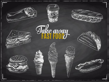 Vector set of fast food. Vector illustration in sketch style. Hand drawn design elements. Chalkboard.