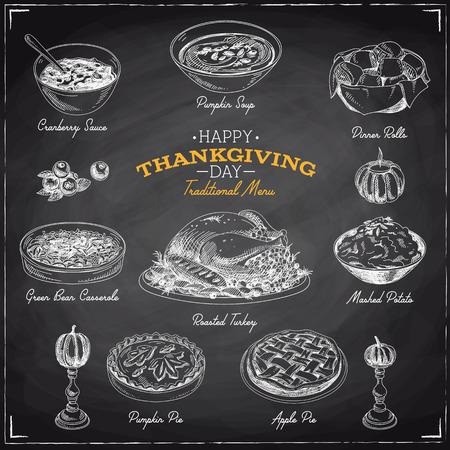 Vector schizzo disegnato a mano del Ringraziamento insieme cibo. Menu del ristorante. Retro illustrazione. Schizzo. Lavagna