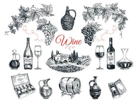 wineries: Vector set of vine products. Vector illustration in sketch style. Hand drawn design elements.