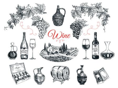 Wektor zestaw produktów winorośli. Ilustracji wektorowych w stylu szkicu. Rę cznie rysowane elementy projektu.