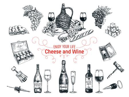 Vector Reihe von Wein und Käse-Elemente. Vektor-Illustration in Skizze Stil. Hand gezeichnet Design-Elemente. Vektorgrafik
