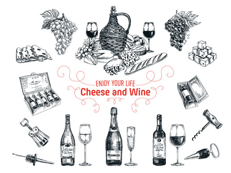 glass bottle: Vector set of vine and cheese elements. Vector illustration in sketch style. Hand drawn design elements.